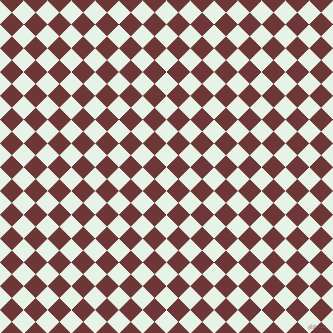 45/135 degree angle diagonal checkered chequered squares checker pattern checkers background, 34 pixel square size, , Aqua Spring and Sanguine Brown checkers chequered checkered squares seamless tileable