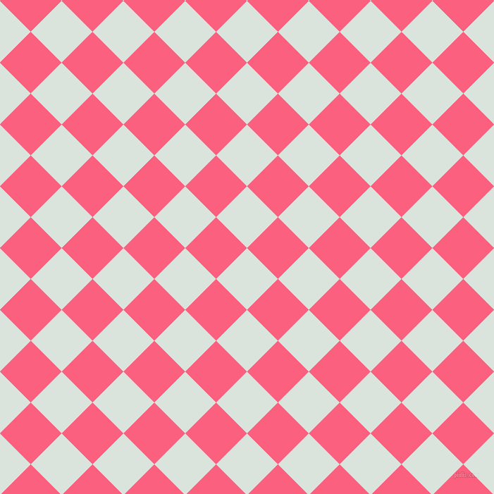 45/135 degree angle diagonal checkered chequered squares checker pattern checkers background, 62 pixel squares size, , Aqua Squeeze and Brink Pink checkers chequered checkered squares seamless tileable