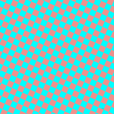 66/156 degree angle diagonal checkered chequered squares checker pattern checkers background, 23 pixel square size, , Aqua and Sweet Pink checkers chequered checkered squares seamless tileable