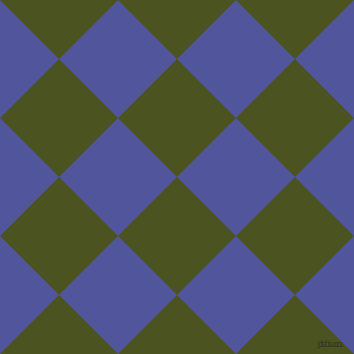 45/135 degree angle diagonal checkered chequered squares checker pattern checkers background, 118 pixel square size, , Army green and Governor Bay checkers chequered checkered squares seamless tileable