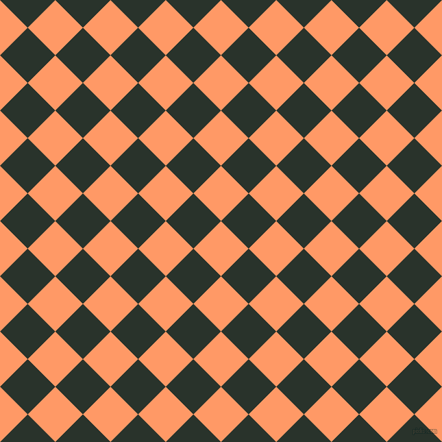 45/135 degree angle diagonal checkered chequered squares checker pattern checkers background, 57 pixel squares size, , Atomic Tangerine and Gordons Green checkers chequered checkered squares seamless tileable
