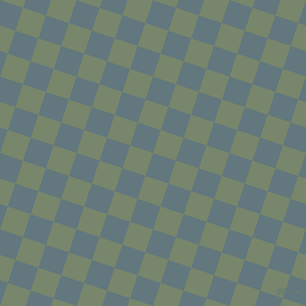72/162 degree angle diagonal checkered chequered squares checker pattern checkers background, 35 pixel square size, , Blue Bayoux and Camouflage Green checkers chequered checkered squares seamless tileable