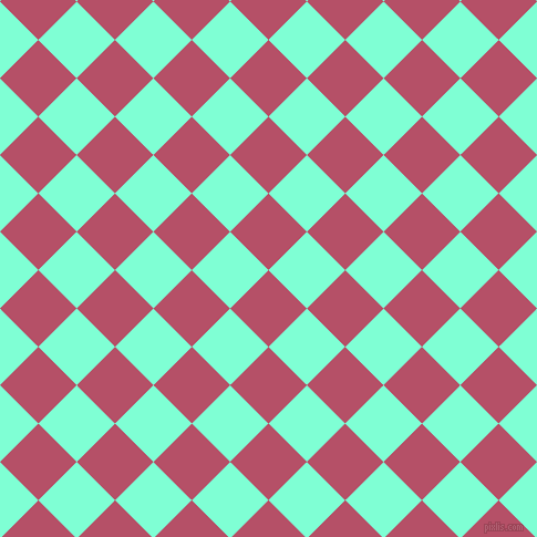 45/135 degree angle diagonal checkered chequered squares checker pattern checkers background, 49 pixel squares size, , Blush and Aquamarine checkers chequered checkered squares seamless tileable