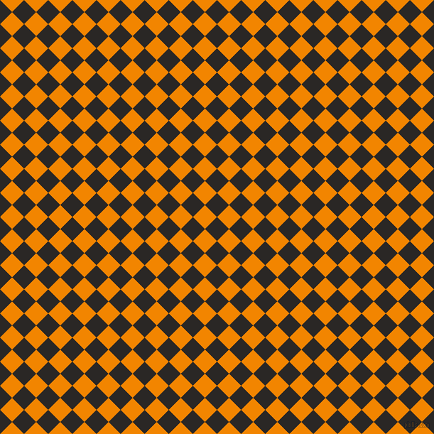 45/135 degree angle diagonal checkered chequered squares checker pattern checkers background, 24 pixel squares size, , Bokara Grey and Tangerine checkers chequered checkered squares seamless tileable