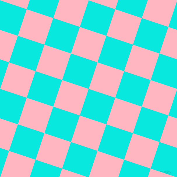 72/162 degree angle diagonal checkered chequered squares checker pattern checkers background, 96 pixel square size, , Bright Turquoise and Light Pink checkers chequered checkered squares seamless tileable