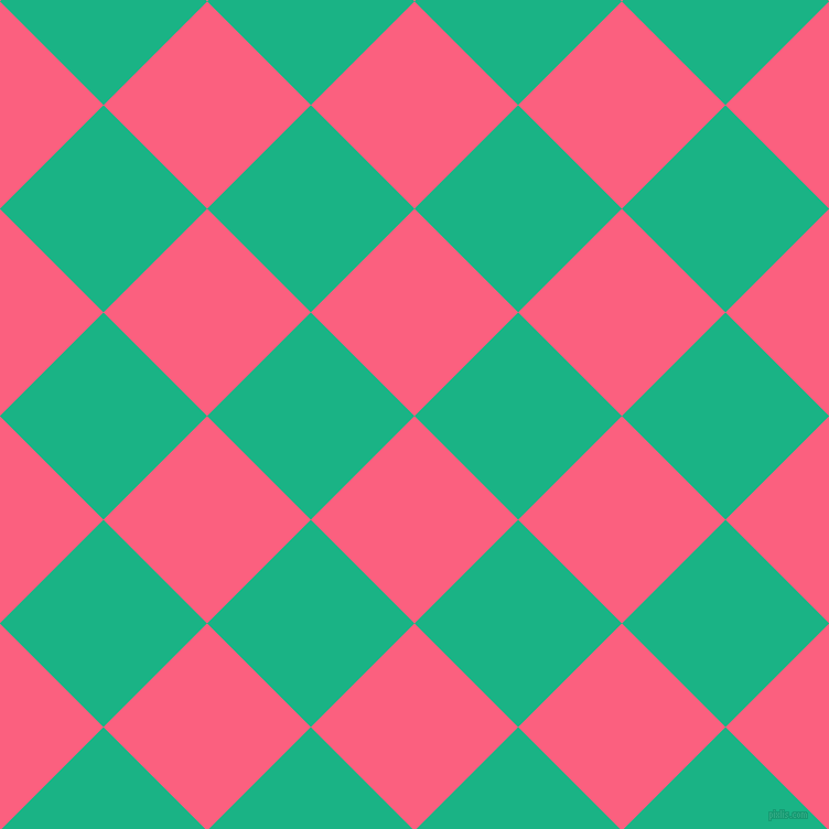 45/135 degree angle diagonal checkered chequered squares checker pattern checkers background, 133 pixel square size, , Brink Pink and Mountain Meadow checkers chequered checkered squares seamless tileable