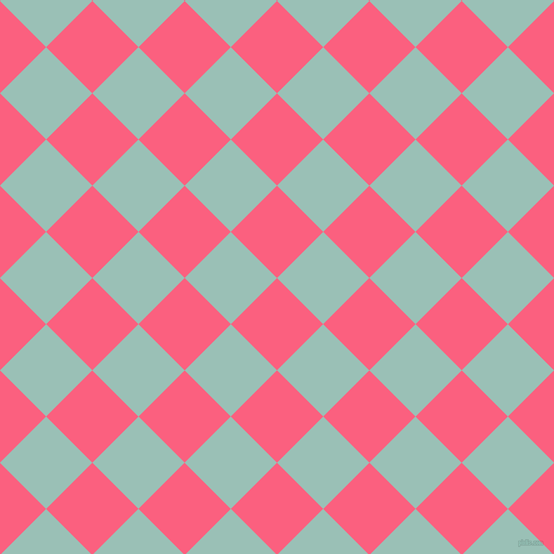 45/135 degree angle diagonal checkered chequered squares checker pattern checkers background, 93 pixel squares size, , Brink Pink and Shadow Green checkers chequered checkered squares seamless tileable