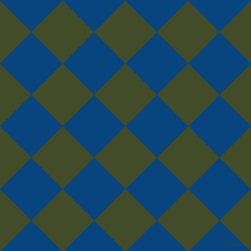 45/135 degree angle diagonal checkered chequered squares checker pattern checkers background, 87 pixel square size, Bronzetone and Dark Cerulean checkers chequered checkered squares seamless tileable