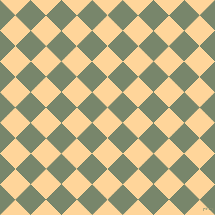 45/135 degree angle diagonal checkered chequered squares checker pattern checkers background, 73 pixel square size, , Caramel and Camouflage Green checkers chequered checkered squares seamless tileable