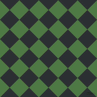 45/135 degree angle diagonal checkered chequered squares checker pattern checkers background, 57 pixel squares size, Cod Grey and Fern Green checkers chequered checkered squares seamless tileable