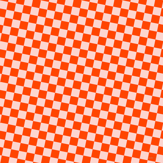 79/169 degree angle diagonal checkered chequered squares checker pattern checkers background, 28 pixel square size, Cosmos and Orange Red checkers chequered checkered squares seamless tileable