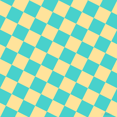 63/153 degree angle diagonal checkered chequered squares checker pattern checkers background, 46 pixel squares size, , Cream Brulee and Medium Turquoise checkers chequered checkered squares seamless tileable