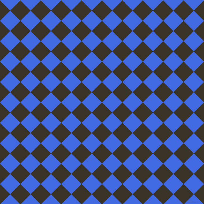 45/135 degree angle diagonal checkered chequered squares checker pattern checkers background, 50 pixel squares size, Creole and Royal Blue checkers chequered checkered squares seamless tileable