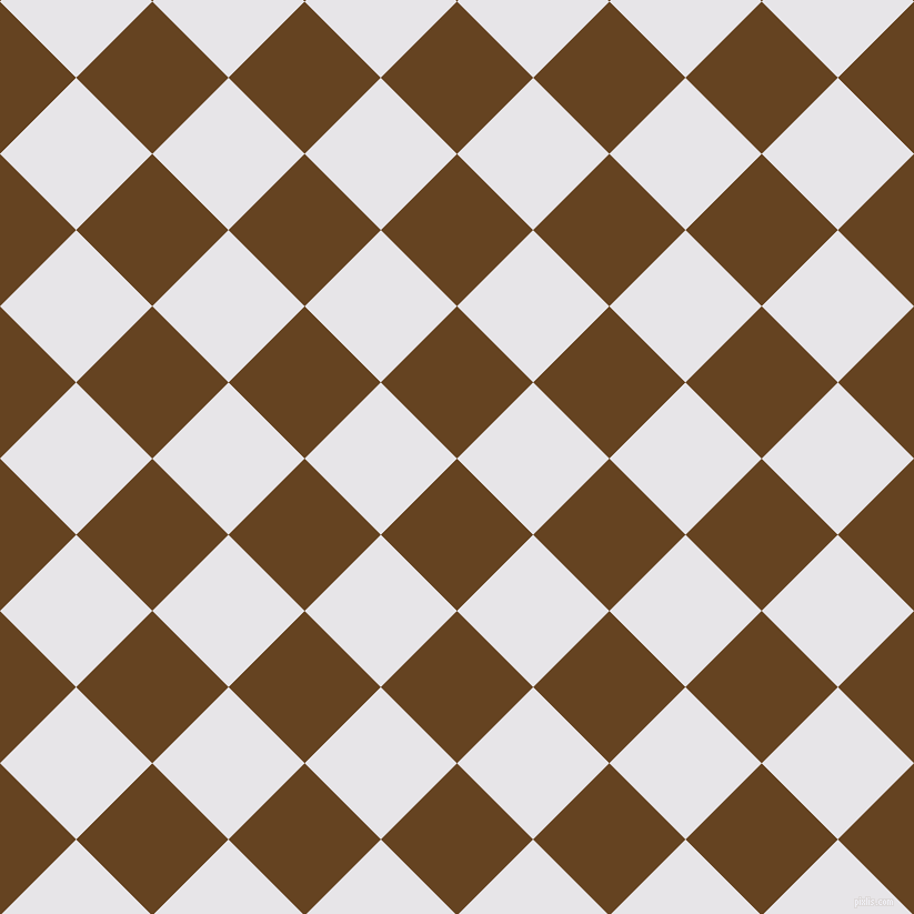 45/135 degree angle diagonal checkered chequered squares checker pattern checkers background, 97 pixel square size, , Dark Brown and White Lilac checkers chequered checkered squares seamless tileable