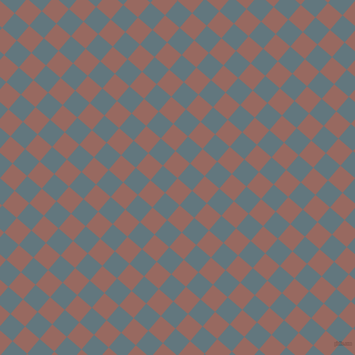 49/139 degree angle diagonal checkered chequered squares checker pattern checkers background, 39 pixel square size, , Dark Chestnut and Blue Bayoux checkers chequered checkered squares seamless tileable