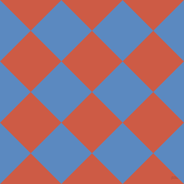 45/135 degree angle diagonal checkered chequered squares checker pattern checkers background, 151 pixel squares size, , Dark Coral and Danube checkers chequered checkered squares seamless tileable