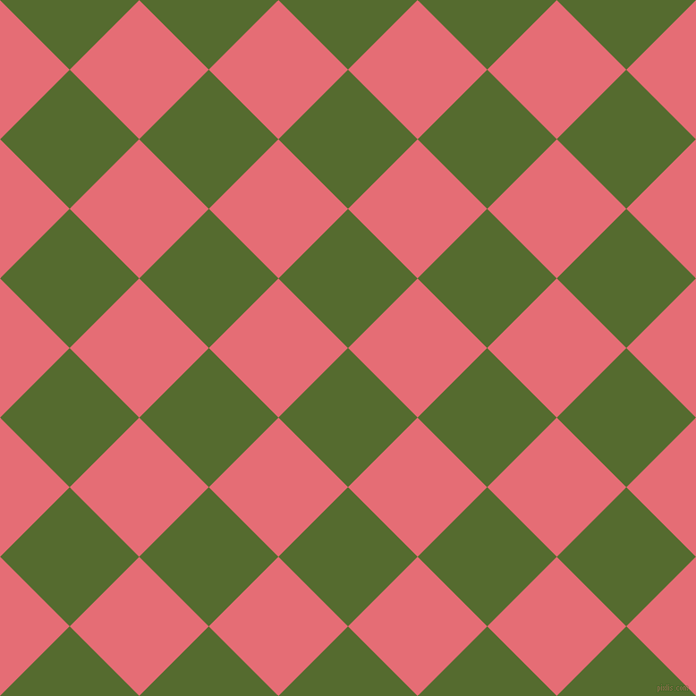 45/135 degree angle diagonal checkered chequered squares checker pattern checkers background, 110 pixel square size, , Dark Olive Green and Froly checkers chequered checkered squares seamless tileable