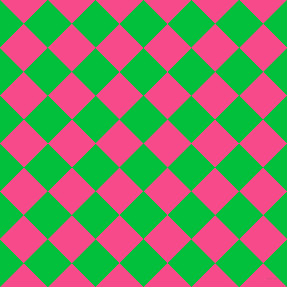 45/135 degree angle diagonal checkered chequered squares checker pattern checkers background, 68 pixel square size, , Dark Pastel Green and French Rose checkers chequered checkered squares seamless tileable