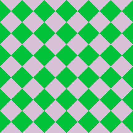 45/135 degree angle diagonal checkered chequered squares checker pattern checkers background, 51 pixel square size, , Dark Pastel Green and Thistle checkers chequered checkered squares seamless tileable