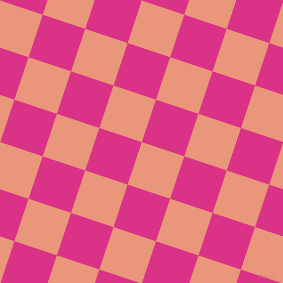 72/162 degree angle diagonal checkered chequered squares checker pattern checkers background, 90 pixel squares size, Dark Salmon and Deep Cerise checkers chequered checkered squares seamless tileable