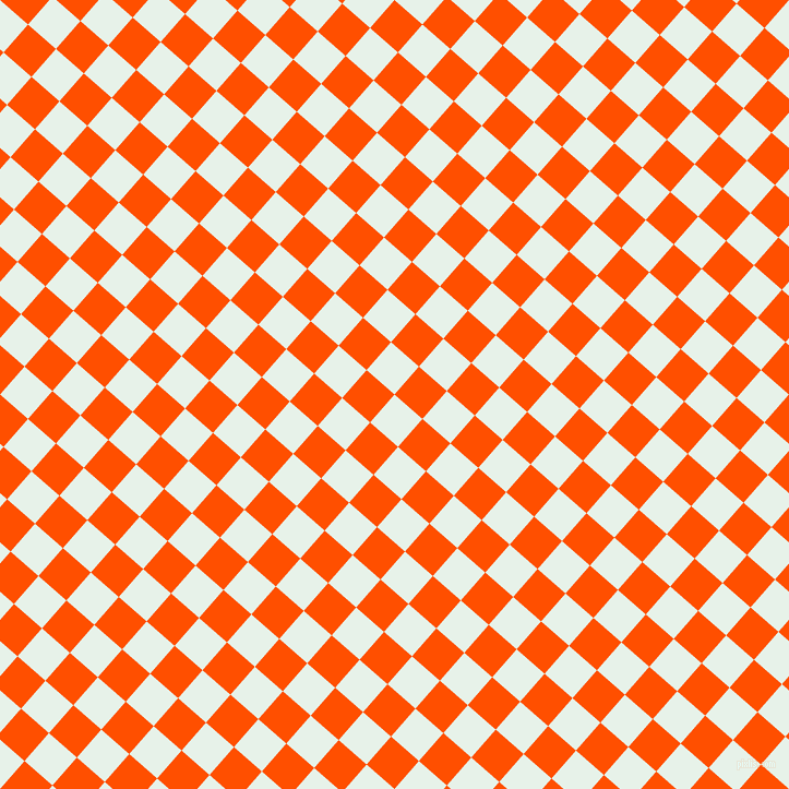 49/139 degree angle diagonal checkered chequered squares checker pattern checkers background, 34 pixel square size, , Dew and International Orange checkers chequered checkered squares seamless tileable