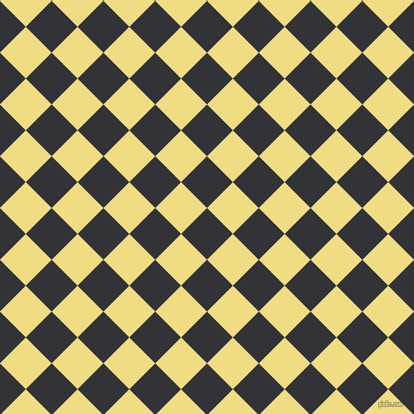 45/135 degree angle diagonal checkered chequered squares checker pattern checkers background, 52 pixel square size, , Ebony and Buff checkers chequered checkered squares seamless tileable