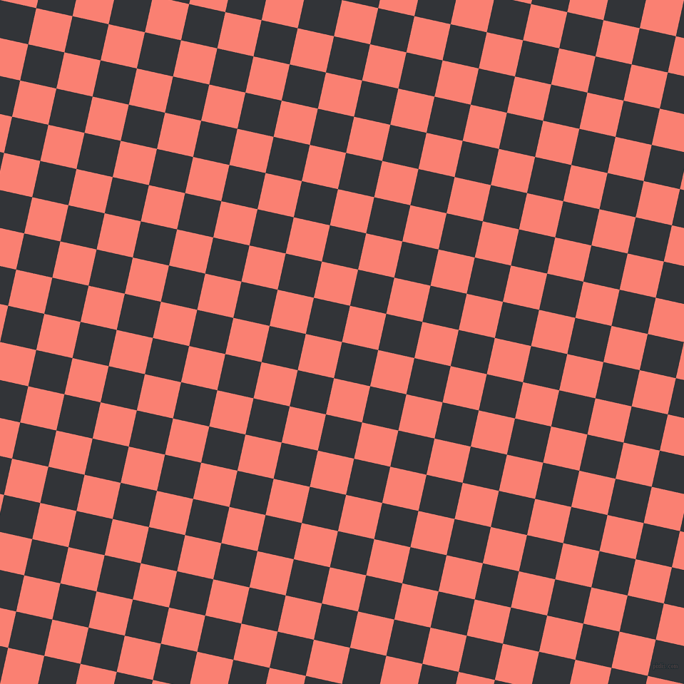 77/167 degree angle diagonal checkered chequered squares checker pattern checkers background, 52 pixel squares size, , Ebony Clay and Salmon checkers chequered checkered squares seamless tileable