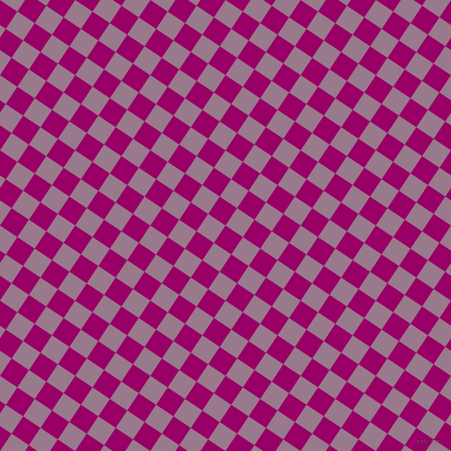 56/146 degree angle diagonal checkered chequered squares checker pattern checkers background, 30 pixel square size, Eggplant and Mountbatten Pink checkers chequered checkered squares seamless tileable