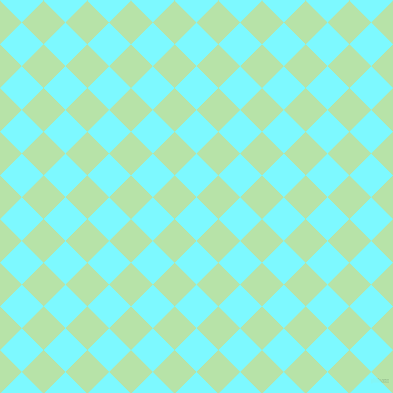 45/135 degree angle diagonal checkered chequered squares checker pattern checkers background, 62 pixel squares size, , Electric Blue and Madang checkers chequered checkered squares seamless tileable