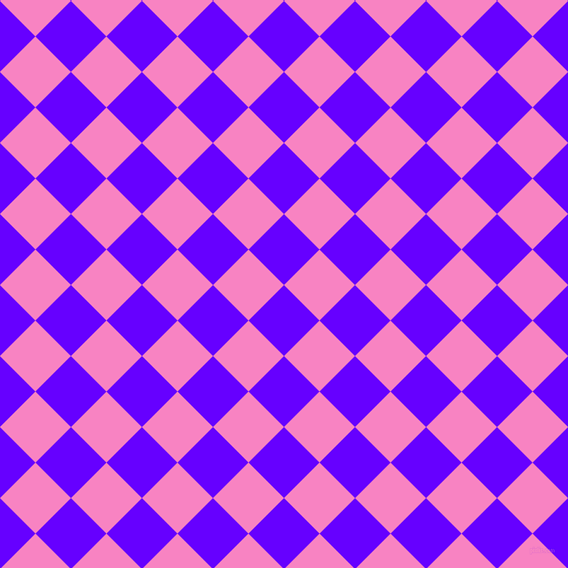 45/135 degree angle diagonal checkered chequered squares checker pattern checkers background, 71 pixel square size, , Electric Indigo and Tea Rose checkers chequered checkered squares seamless tileable