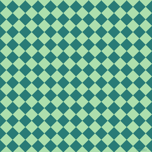 45/135 degree angle diagonal checkered chequered squares checker pattern checkers background, 31 pixel square size, , Elm and Moss Green checkers chequered checkered squares seamless tileable