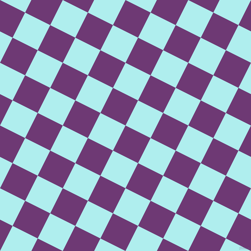 63/153 degree angle diagonal checkered chequered squares checker pattern checkers background, 93 pixel squares size, , Eminence and Pale Turquoise checkers chequered checkered squares seamless tileable