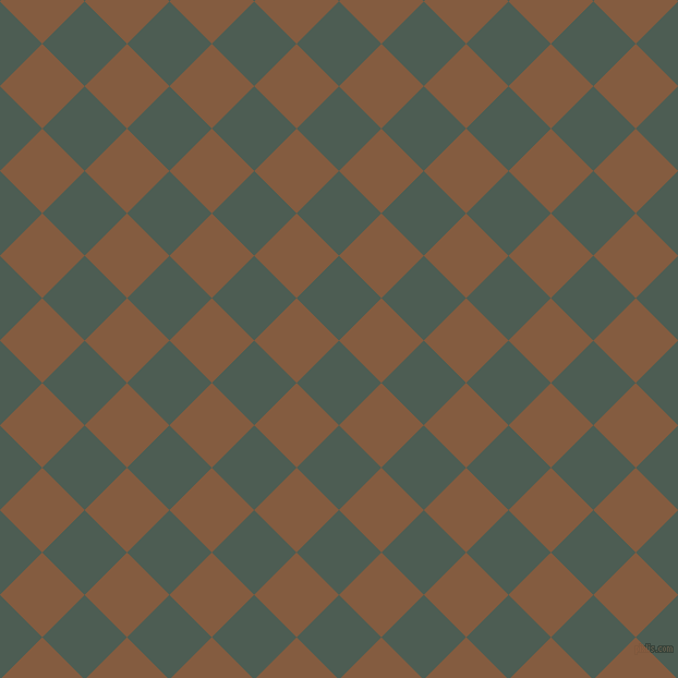 45/135 degree angle diagonal checkered chequered squares checker pattern checkers background, 55 pixel squares size, , Feldgrau and Potters Clay checkers chequered checkered squares seamless tileable
