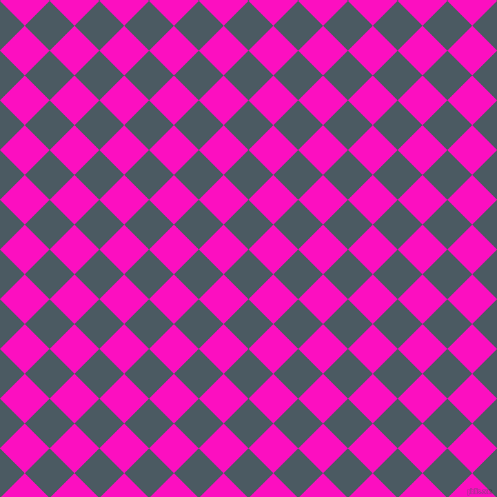 45/135 degree angle diagonal checkered chequered squares checker pattern checkers background, 51 pixel squares size, , Fiord and Shocking Pink checkers chequered checkered squares seamless tileable