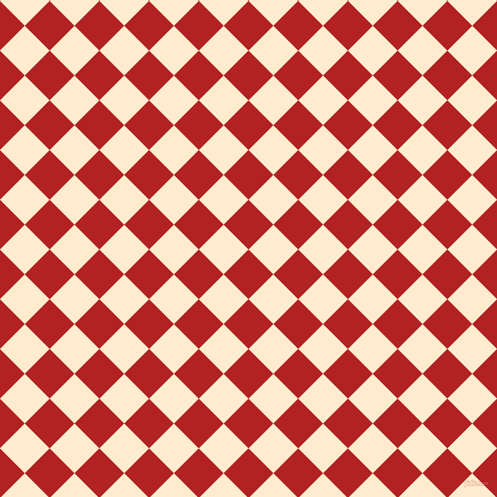 45/135 degree angle diagonal checkered chequered squares checker pattern checkers background, 51 pixel square size, , Fire Brick and Blanched Almond checkers chequered checkered squares seamless tileable