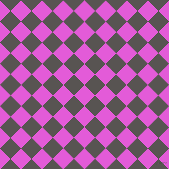 45/135 degree angle diagonal checkered chequered squares checker pattern checkers background, 48 pixel square size, , Free Speech Magenta and Tundora checkers chequered checkered squares seamless tileable