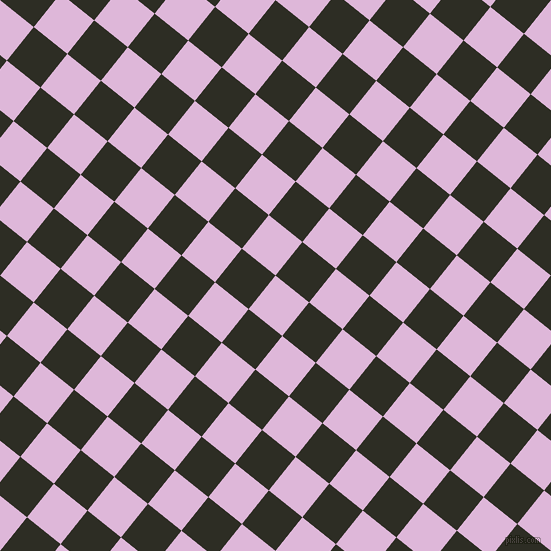 51/141 degree angle diagonal checkered chequered squares checker pattern checkers background, 43 pixel square size, , French Lilac and Karaka checkers chequered checkered squares seamless tileable