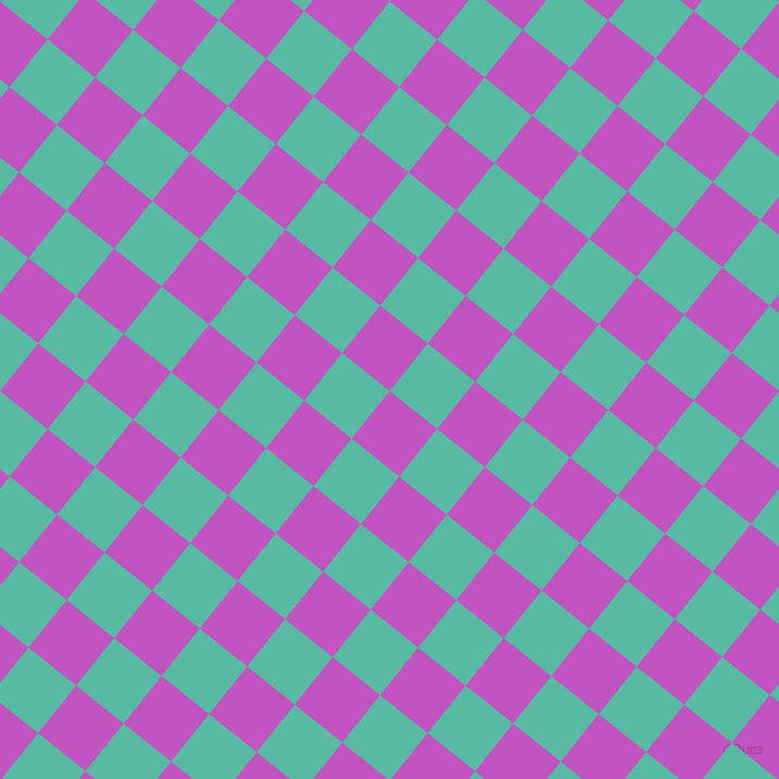 51/141 degree angle diagonal checkered chequered squares checker pattern checkers background, 56 pixel squares size, Fuchsia and Puerto Rico checkers chequered checkered squares seamless tileable