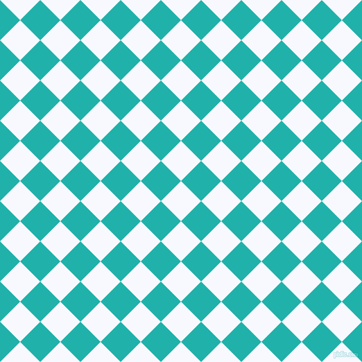 45/135 degree angle diagonal checkered chequered squares checker pattern checkers background, 41 pixel squares size, , Ghost White and Light Sea Green checkers chequered checkered squares seamless tileable