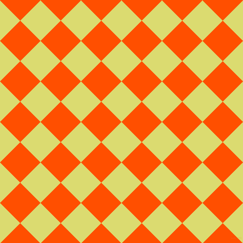 45/135 degree angle diagonal checkered chequered squares checker pattern checkers background, 99 pixel square size, Goldenrod and International Orange checkers chequered checkered squares seamless tileable