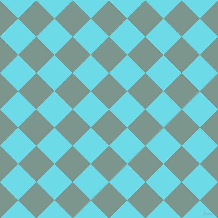 45/135 degree angle diagonal checkered chequered squares checker pattern checkers background, 89 pixel squares size, , Granny Smith and Turquoise Blue checkers chequered checkered squares seamless tileable
