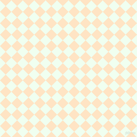 45/135 degree angle diagonal checkered chequered squares checker pattern checkers background, 28 pixel square size, , Honeydew and Bisque checkers chequered checkered squares seamless tileable