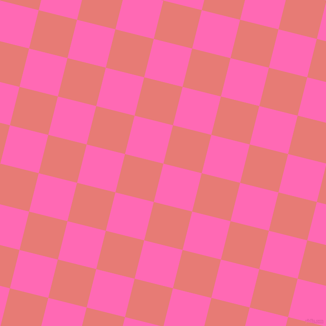 76/166 degree angle diagonal checkered chequered squares checker pattern checkers background, 78 pixel square size, , Hot Pink and Geraldine checkers chequered checkered squares seamless tileable