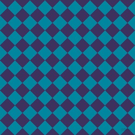 45/135 degree angle diagonal checkered chequered squares checker pattern checkers background, 36 pixel square size, , Jacarta and Eastern Blue checkers chequered checkered squares seamless tileable