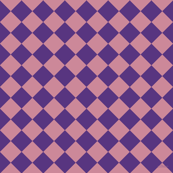 45/135 degree angle diagonal checkered chequered squares checker pattern checkers background, 49 pixel squares size, , Kingfisher Daisy and Puce checkers chequered checkered squares seamless tileable
