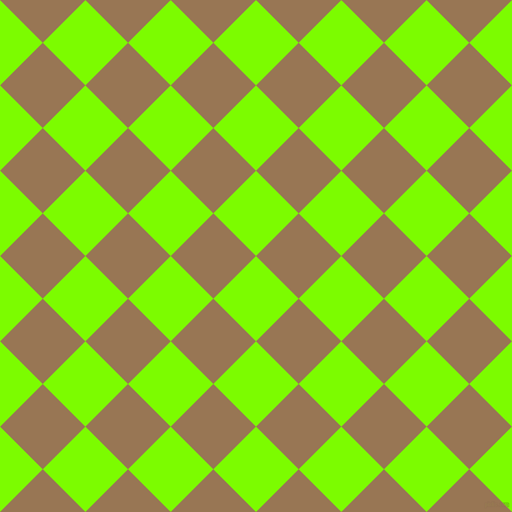 45/135 degree angle diagonal checkered chequered squares checker pattern checkers background, 88 pixel squares size, , Lawn Green and Pale Brown checkers chequered checkered squares seamless tileable