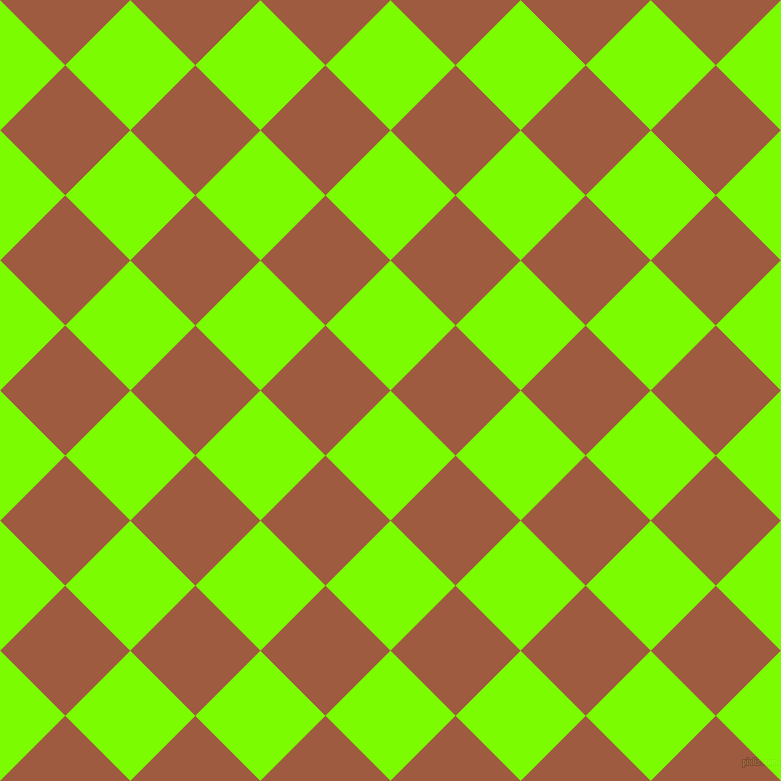 45/135 degree angle diagonal checkered chequered squares checker pattern checkers background, 92 pixel square size, , Lawn Green and Sepia checkers chequered checkered squares seamless tileable