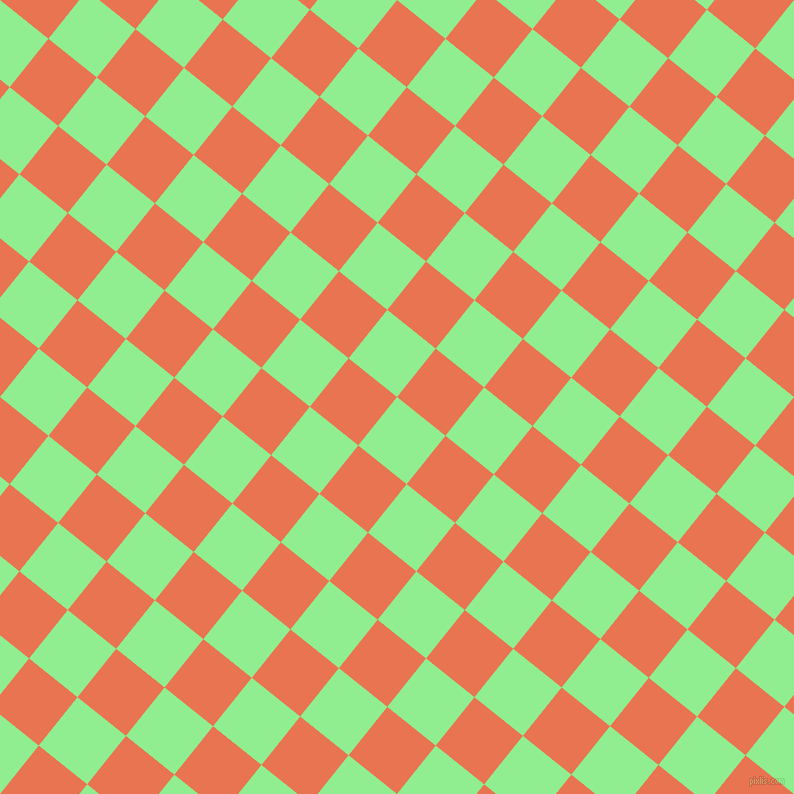 51/141 degree angle diagonal checkered chequered squares checker pattern checkers background, 62 pixel squares size, , Light Green and Burnt Sienna checkers chequered checkered squares seamless tileable