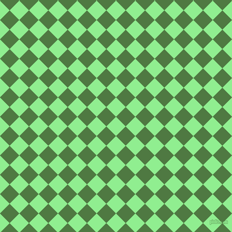 45/135 degree angle diagonal checkered chequered squares checker pattern checkers background, 27 pixel squares size, , Light Green and Fern Green checkers chequered checkered squares seamless tileable
