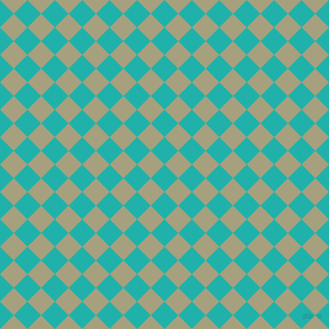 45/135 degree angle diagonal checkered chequered squares checker pattern checkers background, 38 pixel squares size, Light Sea Green and Hillary checkers chequered checkered squares seamless tileable